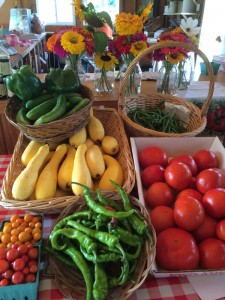 Fresh flowers and vegetables at Brown's Harvest